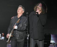 Mike McCready and Chris Cornell of Temple of the Dog perform at the Forum on Monday. ///ADDITIONAL INFORMATION: 11/14/16 - templeofthedog_review.1115 - KELLY A. SWIFT, - CONTRIBUTING PHOTOGRAPHER
