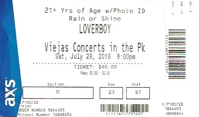Loverboy Ticket